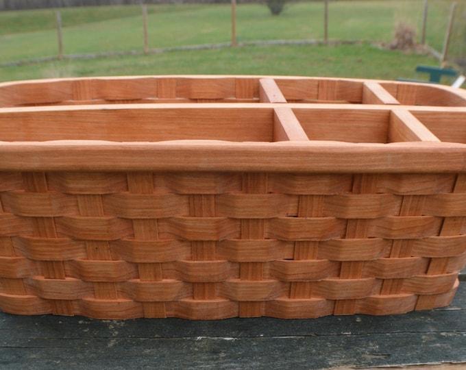 Office Organizer Desk Accessory Cherry Wood Basket
