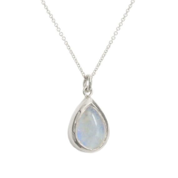 Sterling silver moonstone necklace June necklace Tiny silver moonstone necklace Dainty moonstone necklace Rainbow moonstone necklace