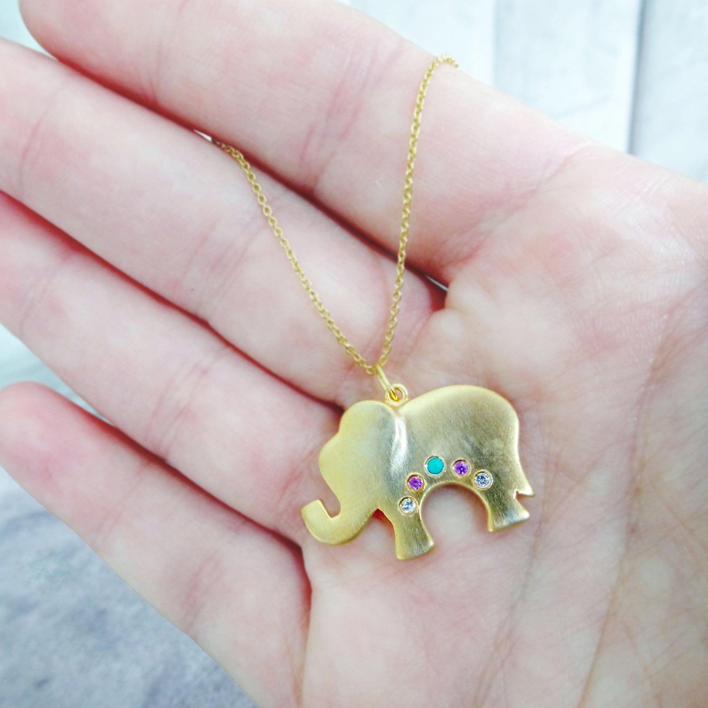 Lucky Elephant Christmas Gift Birthstone Necklace Gift for Her Elephant Charm Necklace Elephant Jewelry