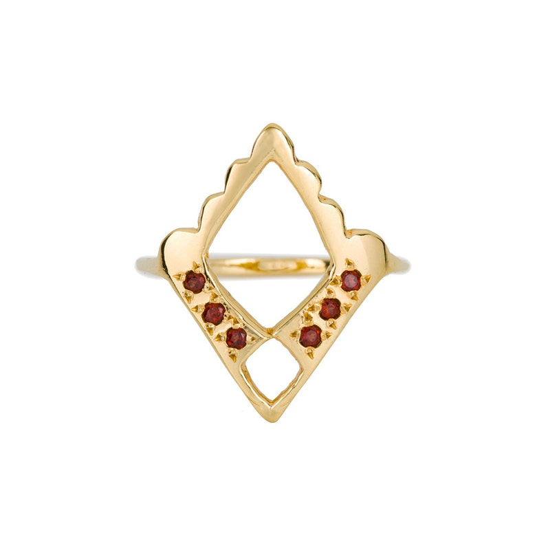 January Birthstone Gold Ring Gold Garnet Ring Red Garnet Jewelry 14k Gold Statement Ring