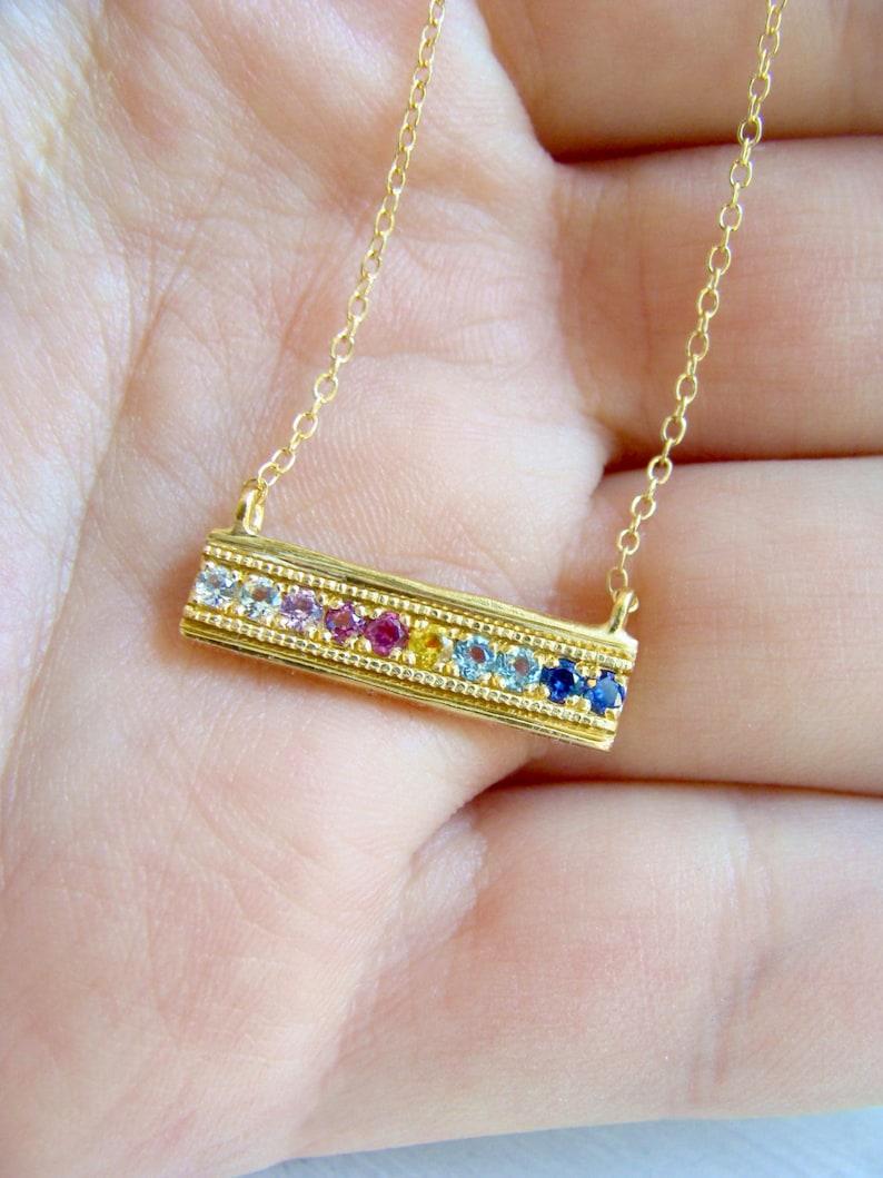 Multi Gemstone Pendant Bohemian Necklace Rainbow Bar Necklace Multi Gemstone Necklace Rainbow Gemstone Jewelry 14k Gold Bar Pendant