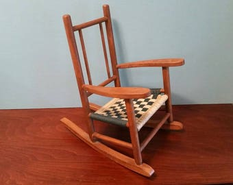 Miniature Wood Rocking Chair With Woven Seat