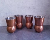Four Copper Mint Julep Cups