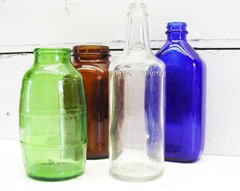 vintage colored bottles old colored glass bottles vintage jars vintage bottles instant collection glass assemblage sun room - Colored Glass Bottles