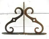 Vintage Shelf Brackets - Spanish Influence - 10 inch - Architectural Salvage - Vintage Iron Garden Decor - Plant Hooks