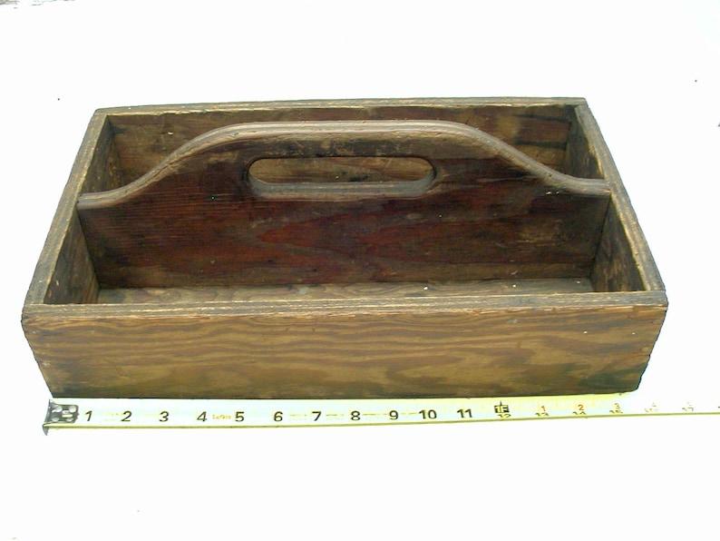 Vintage Handmade Wooden Toolbox - Tote Box - Organize Paints and Crafts -  Unique Planter Petunias Succulents