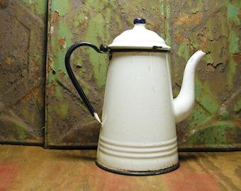 Vintage Cobalt Blue White Enamel Pitcher Perfectly Primitive Coffee Tea Pot Kettle