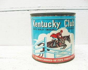 Vintage Kentucky Club Tobacco Tin Union Made - Wheeling West Virginia Equestrian Theme Hunter Jumper Graphics
