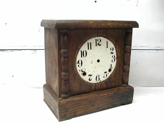 Vintage Wooden Clock Housing French Cottage Project Piece Upcycle Dial