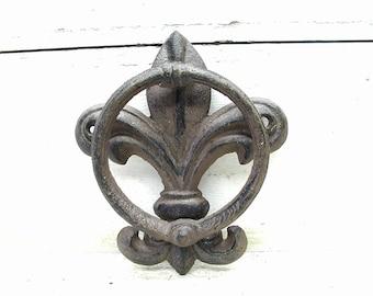 Ornate Fleur de Lis Cast Iron Door Knocker Decoration  - Decorative Rusty Gothic Grungy Decor - Saints - New Orleans - French Decor