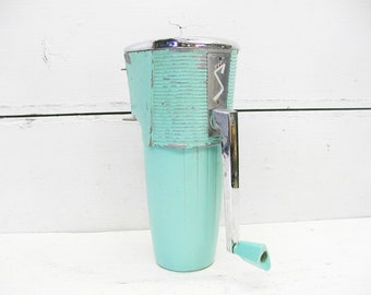 Vintage Retro Ice Crusher - Swing-Away - No Bracket - Working Condition Aqua - Teal - Turquoise - Rocket Age - 50s Diner