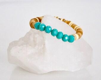 Beaded Bracelet /  Turquoise Coconut Shell Healing Crystals / Glass Beads / Boho Jewelry / KO-MALA / Blacktop