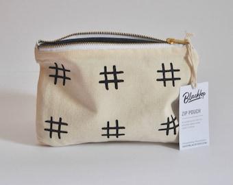 Zipper Pouch: Hashtag Black and White, Makeup Case, Clutch Purse, Vegan Wallet, Pencil Case, Zip Pouch, Bag, Organizer