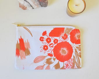 Ochre Floral Print Cotton Zip Pouch, Makeup Bag, Cosmetic Bag, Clutch Purse, Wallet
