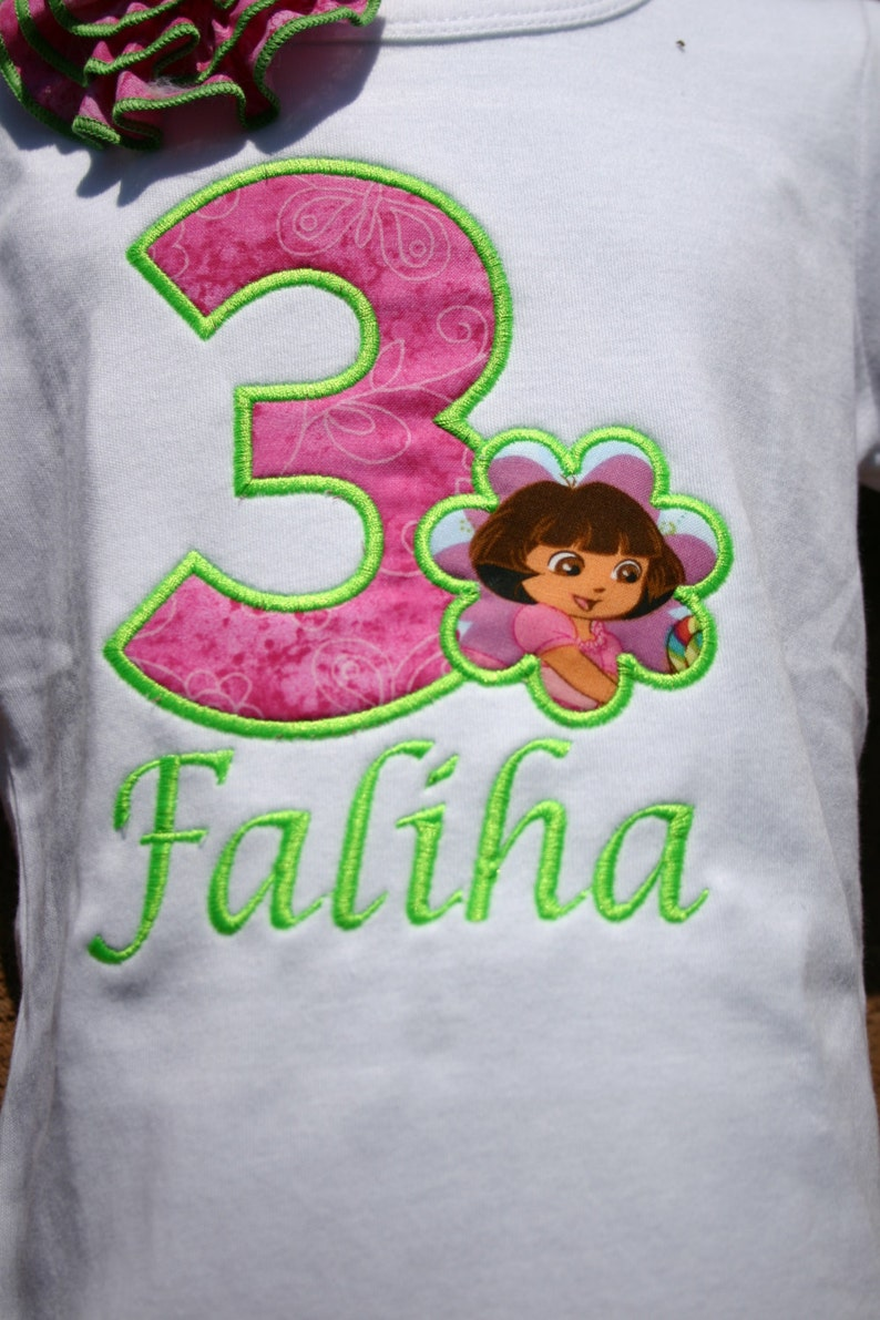 Aris Angels Girls Dora Birthday Shirt Monogrammed