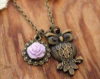 Owl Necklace, Owl Jewelry, Owl Pendant, Owl, Flower Necklace, Owl Charm, Necklace, Brass Owl Necklace