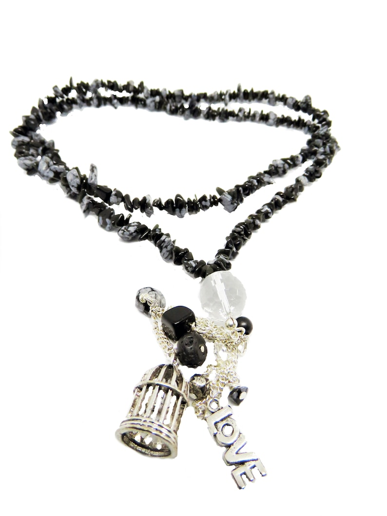Extra Long Black Gemstone Chip And Charm Necklace Long Black Gemstone Necklace Long Black Wrap Around Necklace