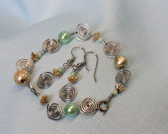 Handcrafted Paperclip Jewelry- Set of Spiral Bracelet and Earrings
