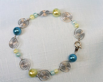 Handcrafted Paperclip Circle Spiral Bracelet
