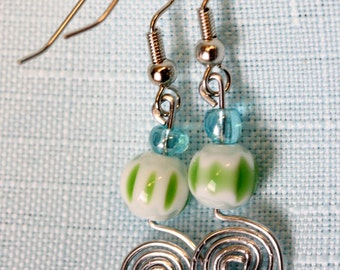Handcrafted Paperclip Circle Spiral Earrings