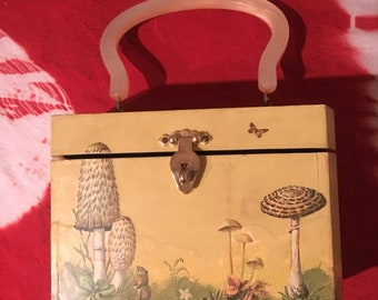 1960s mushrooms psychedelic makeup toiletries travel case
