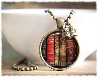 Book Necklace • Vintage Book Pendant • Literary Gifts • Book Lover Jewelry • Gift For Reader • Writer Necklace