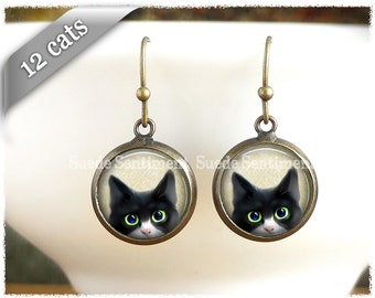 Peeking Cat Earrings • Cat Jewellery • Gifts For Cat Lovers • Cat Gifts • Earrings With Black Cats • Animal Rescue • Siamese Cat
