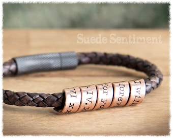 Mens Anniversary • Copper Anniversary Gifts For Men • Mens Personalised Bracelet • Boyfriend Gift • Mens Hidden Message