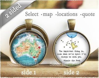 Best Friend Going Away Gifts • Personalised Map Keychain • Friend Long Distance • Friendship Keyring • Sister Gift