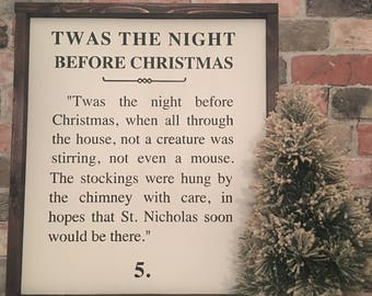 Twas the night before Christmas  painted wood sign