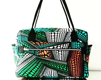 f73e0ada3325 Duffle Bag - African Print Bags - Afroholdall - Weekend Bag - Cabin Luggage  - Travel Bag - Unisex Bags - Blue - Bags by Afrocentric805