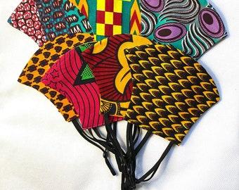 Face Masks -  Various Prints - One Size - Adjustable Elastics - CURVED SHAPE - Afrocentric805