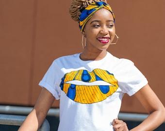 Lips T-Shirt - African Print T-Shirt - Yellow Blue Feather - BOXY T- Shirt - Crop Length T- Shirt - T-Shirt -Afrocentric805