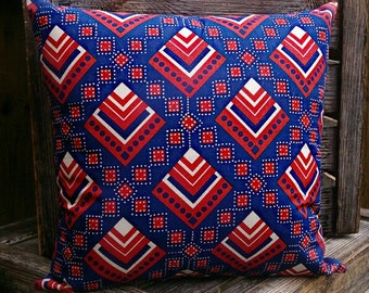 Cushion - African Print Cushion - Blue/Red Retso Print - African Inspired Home Decor - Home & Living - African Homewares by Afrocentric805