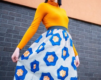 MIDI Skirt - Elasticated Waist Skirt - African Print Skirt - Midi Length - Blue Flower - Afrocentric805