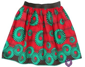 SKIRTS - Elasticated Waist Skirt - African Print Skirt - Skater Skirt - Red/Green -  With POCKETS - Afrocentric805