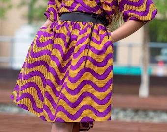SKIRTS - Elasticated Waist Skirt - African Print Skirt - Skater Skirt - Purple Waves -  With POCKETS - Afrocentric805