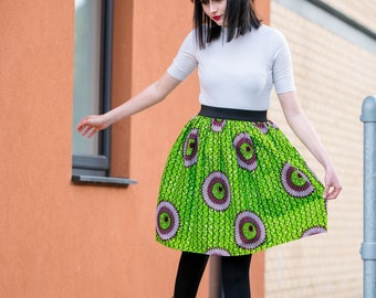 SKIRTS - Elasticated Waist Skirt - African Print Skirt - Ankara Skirt - Skater Skirt - Green -  With POCKETS - Afrocentric805