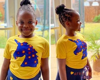 Kids T-Shirt - Unicorn T-Shirt - Unicorn -  African Print T- Shirt - Star Print - Sunflower Yellow T-shirt - Afrocentric805