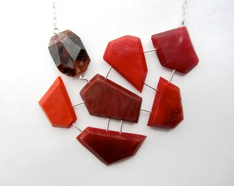 Red statement necklace: geometric necklace with genuine red agate, sterling silver necklace, handmade necklace, red one of a kind jewelry