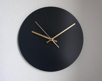 Anthrazit & Brass Wall Clock