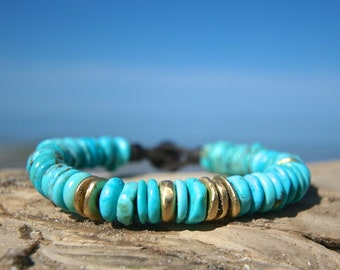 American turquoise, solid 18k gold beads and Tahitian pearl clasp leather bracelet , unisex boho jewelry, beach jewelry, St Barth, seaside .
