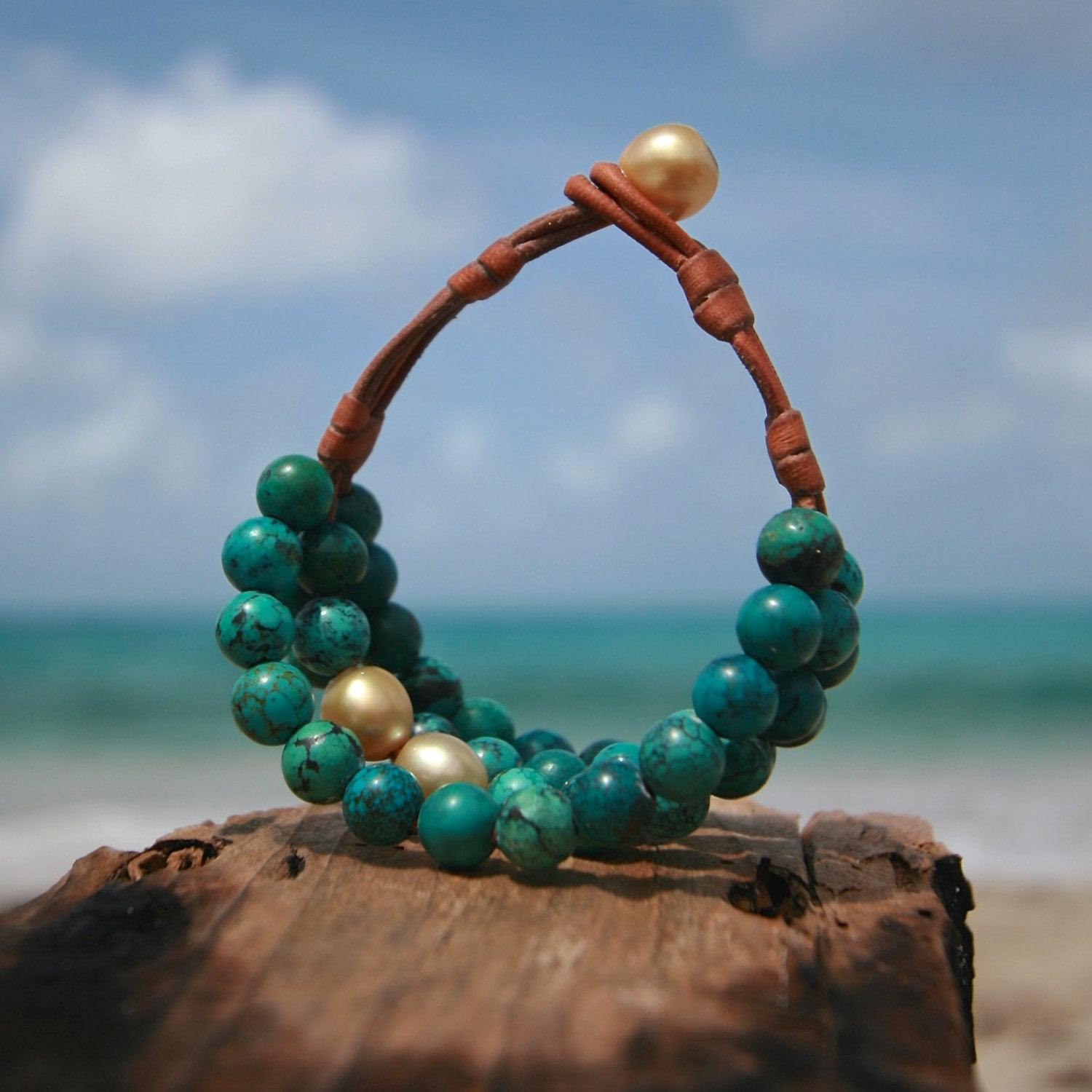 04bfb8eb84dda Multiple turquoise strands bracelet with cultured gold pearls, St Barts ...