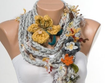 Bohemian hand made crochet scarf. Lariat scarf. Hippie lariat scarf. Christmas gift. Gift for her. Women gift. Fashion accessories.