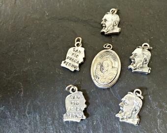 1 Saint Padre Pio of Pietrelcina Mystic Stigmata Monk vintage silver tone pendant St medal Italy charm religious Mother's day birthday gift
