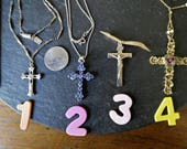 CHOOSE 1 crucifix or 1928 signed Brand cross necklace vintage religious blue rhinestone silver or gold pendant Easter birthday gift