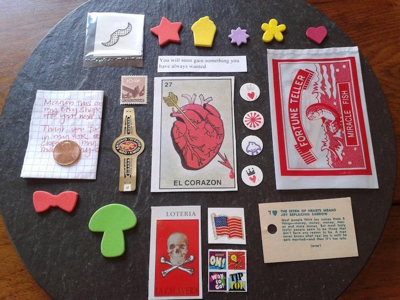 20+ fortune teller paper ephemera retro lot destash Fortune Fish Swami  loteria DIY Halloween junk journal cards temporary tattoo stickers