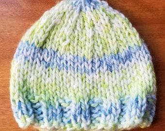 Hand Knit Baby Boy Hat, Knit Newborn Hat, Newborn Photo Prop, Baby Boy Hat