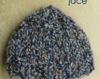 Hand Knit Baby Boy Hat, Knit Newborn Hat, Baby Photo Prop, Baby Boy Hat