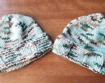 Hand Knit Baby Boy Hat, Knit Newborn Hat, Newborn Photo Prop, Baby Boy Hat, Camouflage hat, Camo hat, Twin hats